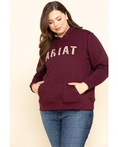 Ariat Women's Grape Wine R.E.A.L. Logo Hoodie - Plus, Burgundy, hi-res