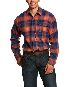 Ariat Men's San Juan Rebar Flannel Durastretch Long Sleeve Work Shirt - Tall, Multi, hi-res