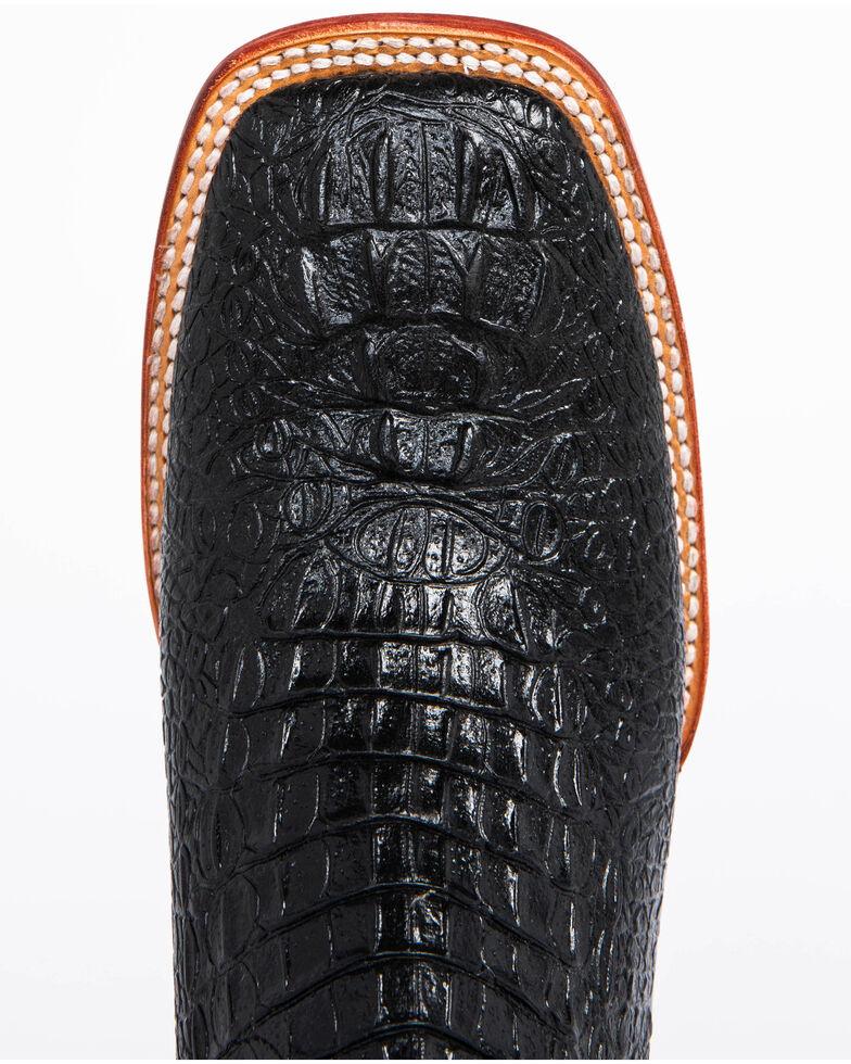 Ferrini Men's Black Caiman Croc Print Cowboy Boots - Wide Square Toe, Black, hi-res
