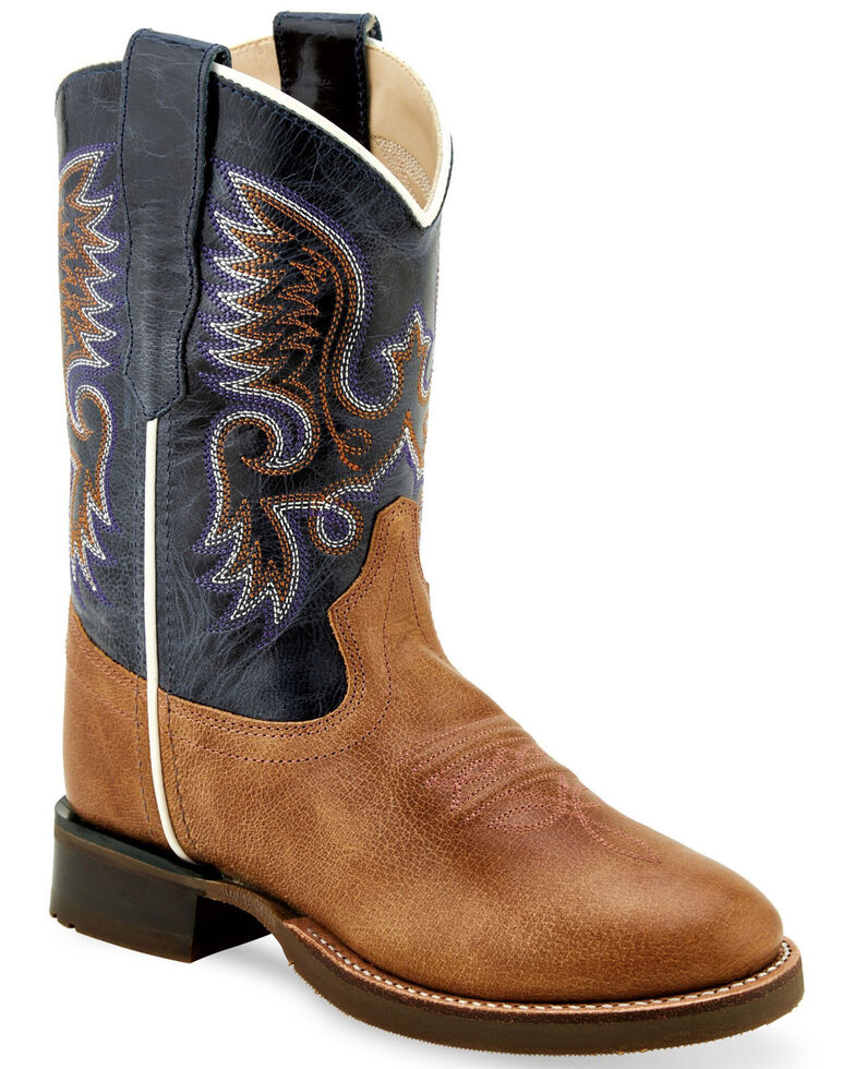 Old West Boys' Shaft Embroidery Western Boots - Round Toe, Tan, hi-res