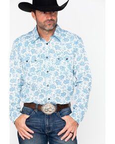 Cody James Men's Oakwilde Long Sleeve Western Shirt, White, hi-res