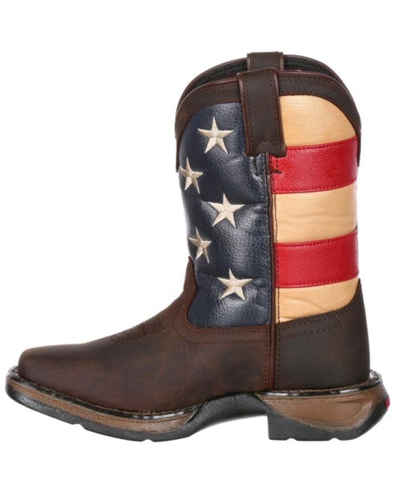 Durango Girls' Lil Rebel Big Kids' Flag Western Boots - Wide Square Toe, Dark Brown, hi-res