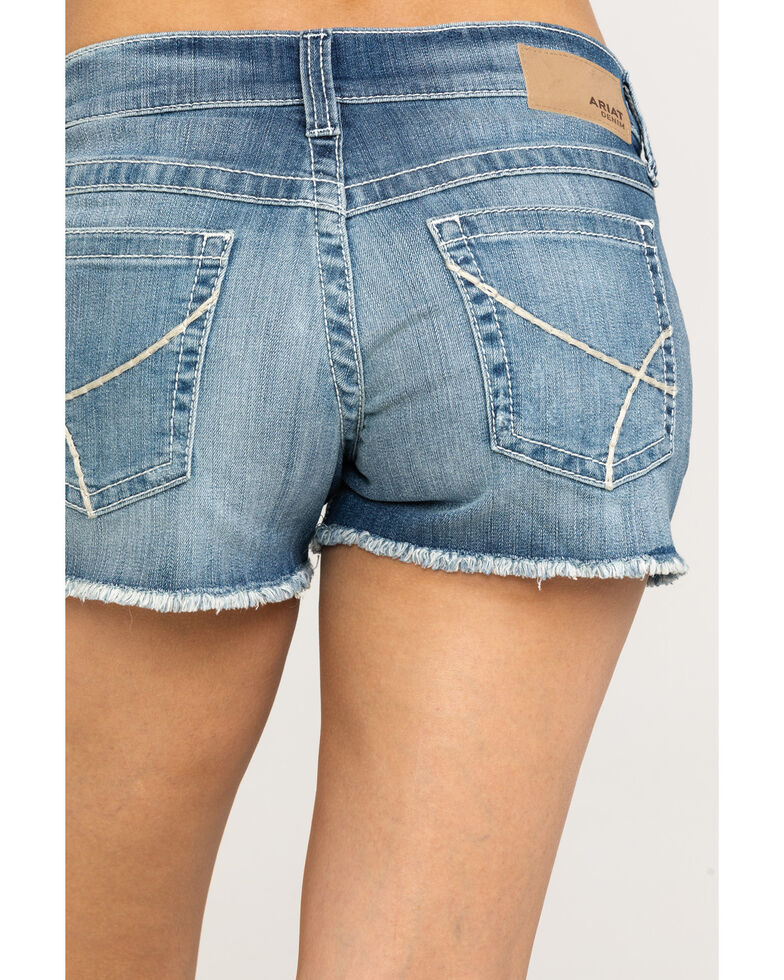 "Ariat Women's Boyfriend Baseball Stitch 3"" Shorts, Blue, hi-res"