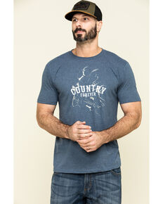 Cody James Men's Country Forever Graphic Short Sleeve T-Shirt , Heather Blue, hi-res