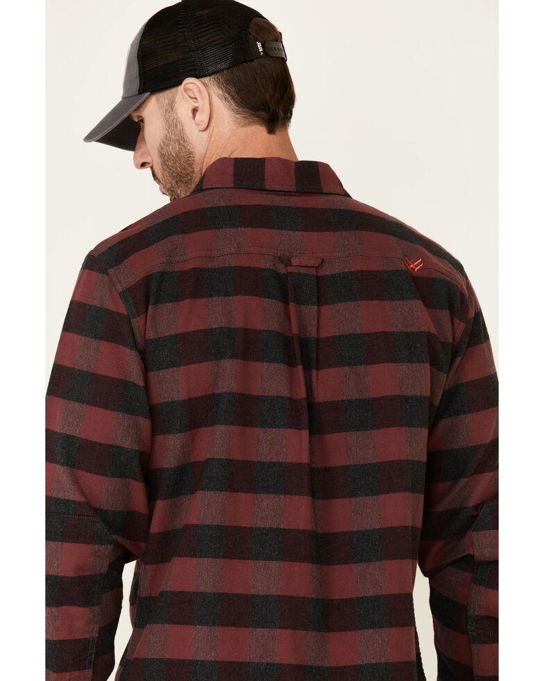 Hawx Men's Harris Stretch Plaid Long Sleeve Button-Down Work Flannel Shirt - Tall , Dark Red, hi-res