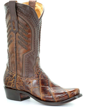 Corral Men's Honey Alligator Woven Cowboy Boots - Snip Toe, Honey, hi-res