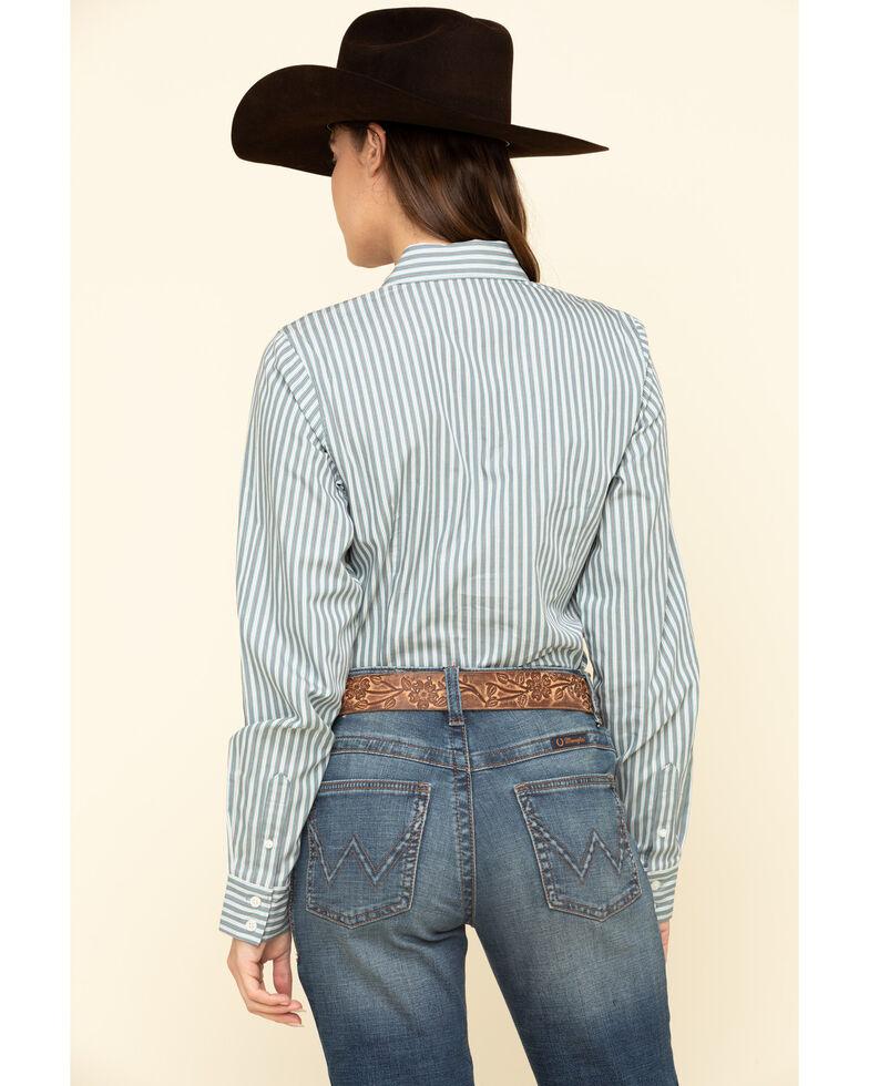 Cinch Women's Grey Stripe Button Long Sleeve Western Shirt , Grey, hi-res