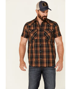 Pendleton Men's Black Frontier Large Plaid Short Sleeve Snap Western Shirt , Black, hi-res