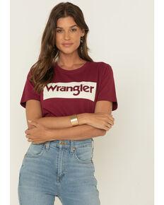 Wrangler Retro Women's Block Logo Graphic Tee , Burgundy, hi-res