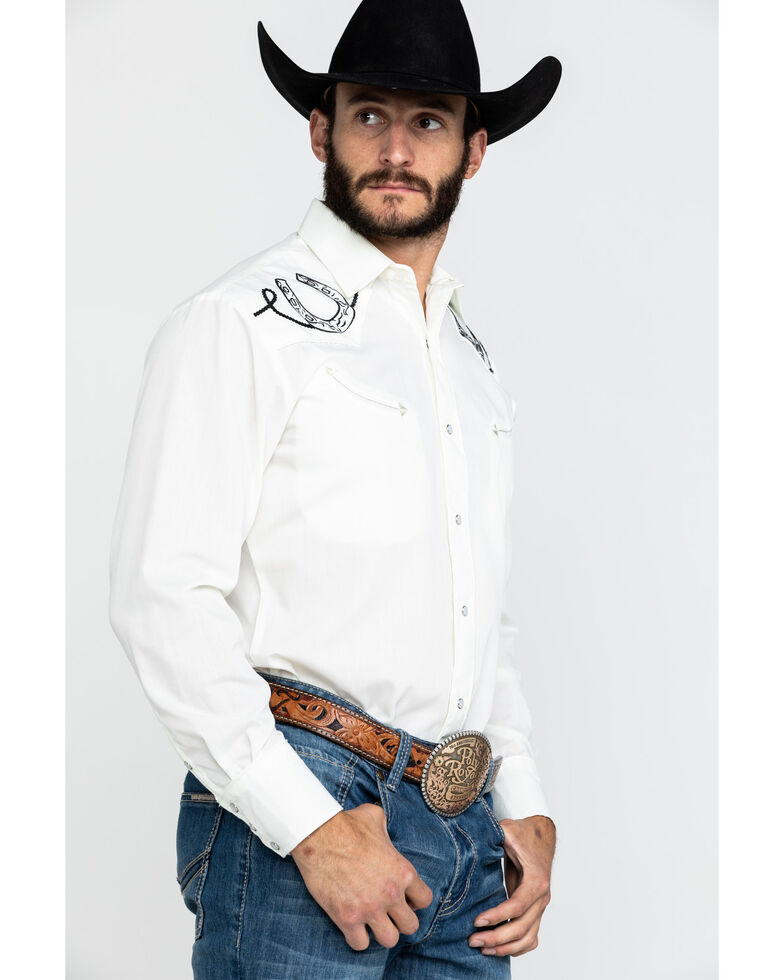 Roper Men's Cream Solid Horseshoe Embroidered Long Sleeve Western Shirt , White, hi-res