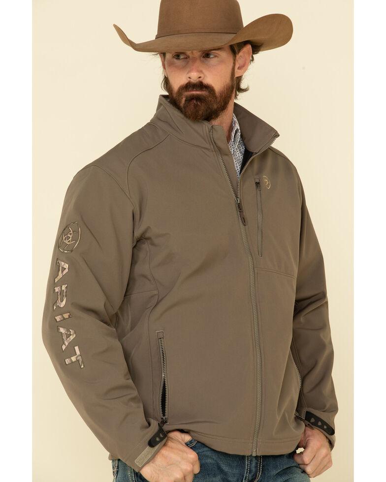 Ariat Men's Brown Camo Print Logo 2.0 Softshell Jacket , Brown, hi-res