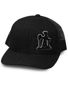 Oil Field Hats Men's Heather Black & White Outline PJ Cowboy Mesh-Back Ball Cap, Grey, hi-res