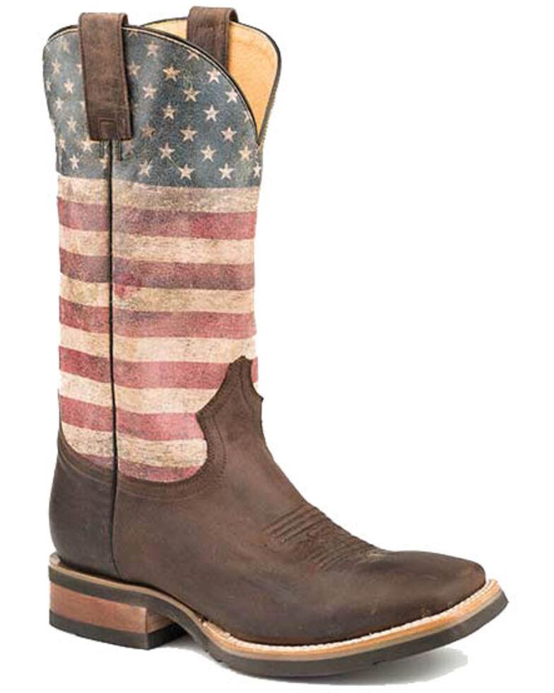 Roper Men's American Patriot Western Boots - Square Toe, Brown, hi-res