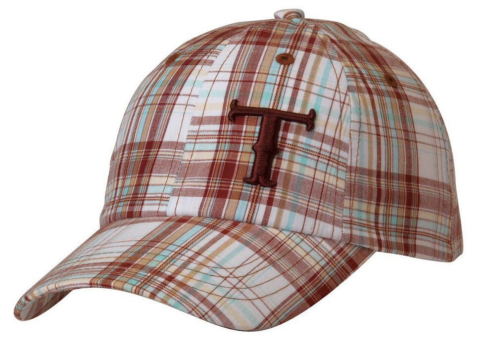 Twister Turquoise, Brown & White Plaid Casual Cap, Brown, hi-res