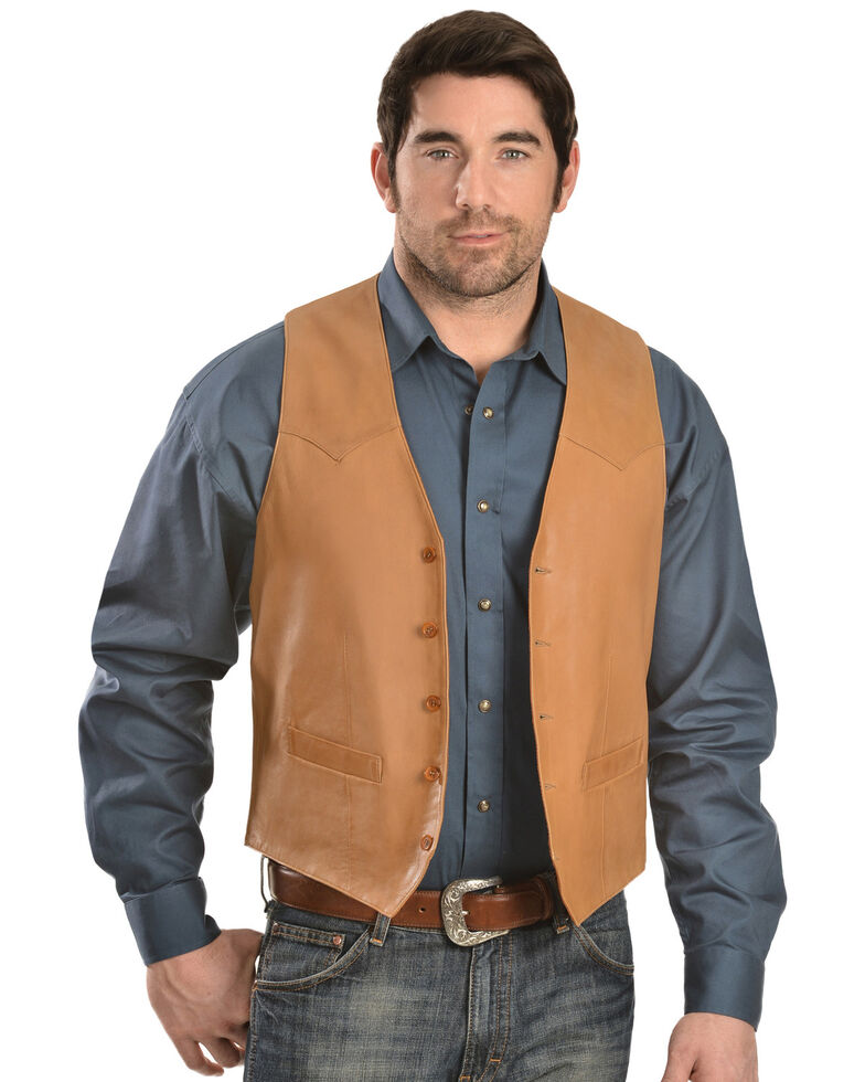 Scully Lamb Leather Vest, Tan, hi-res