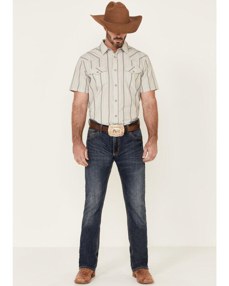 Cody James Men's Chaps Stripe Short Sleeve Snap Western Shirt , Cream, hi-res