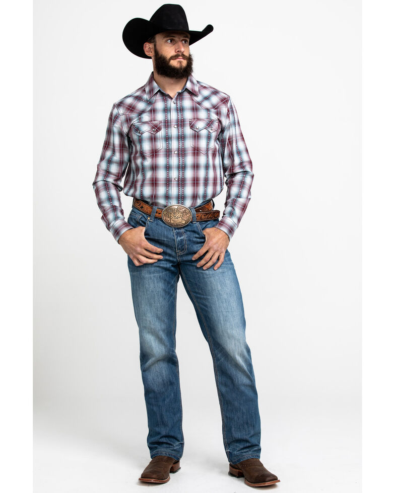Cody James Men's MC Calister Med Plaid Long Sleeve Western Shirt - Tall , Blue/red, hi-res