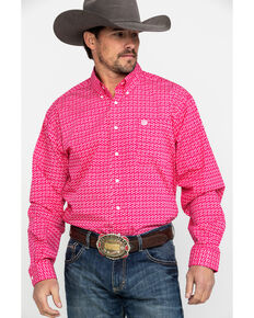 Cinch Men's Pink Geo Print Long Sleeve Western Shirt , Pink, hi-res