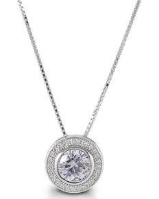 Kelly Herd Women's Round Bezel Set Pave Necklace, Silver, hi-res