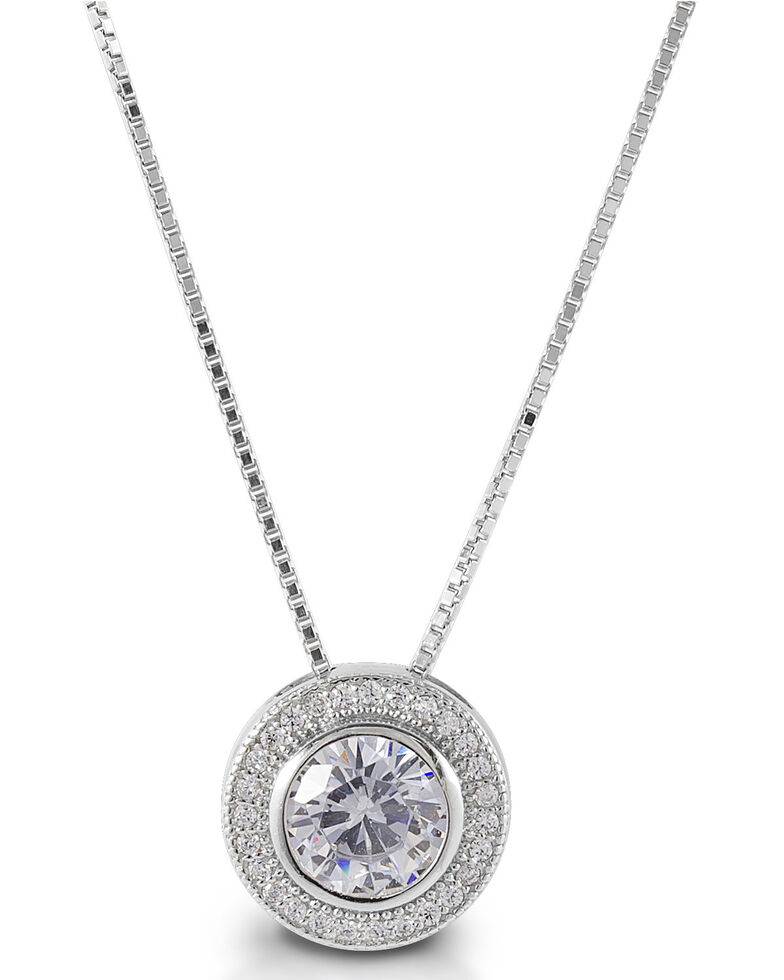 Kelly Herd Women's Round Bezel Set Pave Necklace, Silver, hi-res