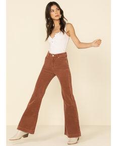 Threebyone Women's Cinnamon East Coast Corduroy Flare Leg Jeans, Brown, hi-res