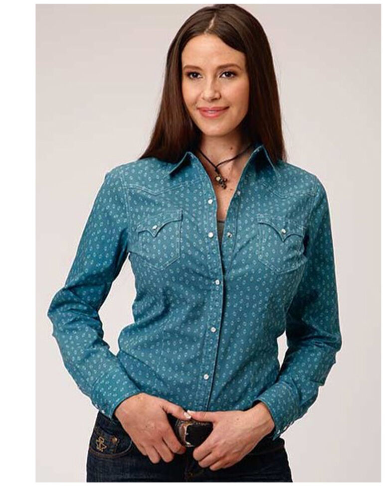 West Made Women's Turquoise Geo Print Long Sleeve Western Shirt  , Turquoise, hi-res