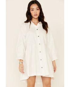 Free People Women's Hannah Denim Mini Dress, White, hi-res