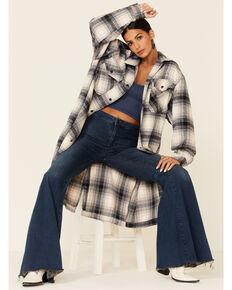 Elan Women's Blue Plaid Long Shacket Jacket , Blue, hi-res