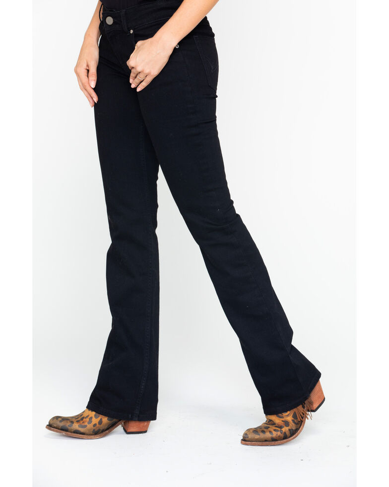 Wrangler Women's Black Mid-Rise Bootcut Jeans, Black, hi-res