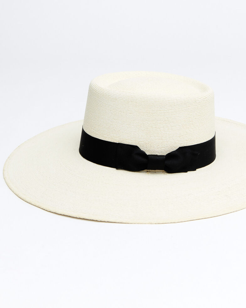 Atwood Hat Co. Black Buckaroo Palm Leaf Boater Hat , Black, hi-res