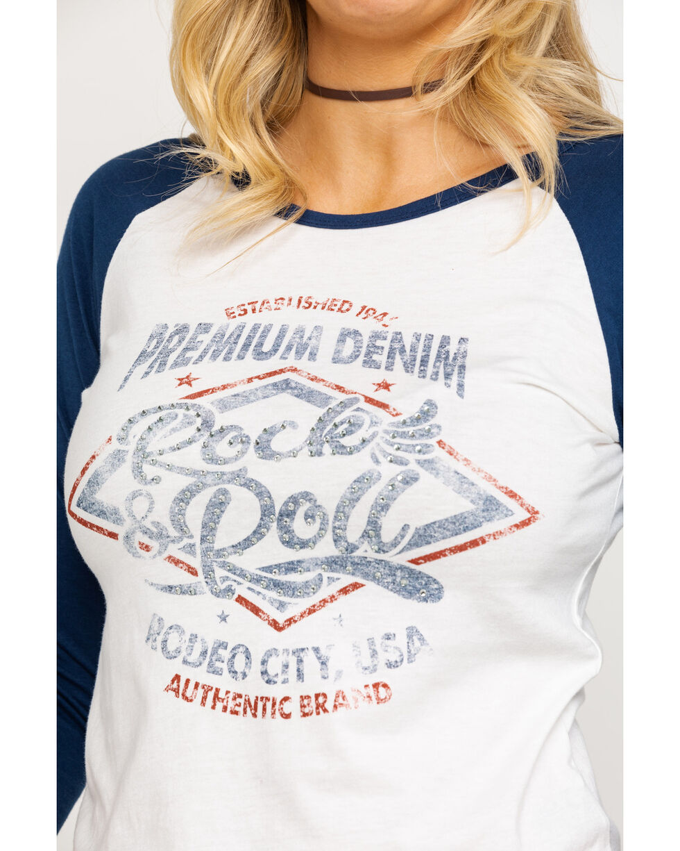 Rock & Roll Cowgirl Women's Premium Denim Lace Up Back Baseball Tee, Navy, hi-res