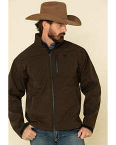 Cinch Men's Brown Solid Logo Textured Bonded Jacket , Brown, hi-res