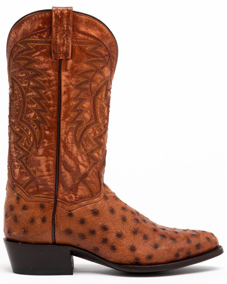 Dan Post Men's Cognac Ostrich Western Boots - Round Toe, Brown, hi-res