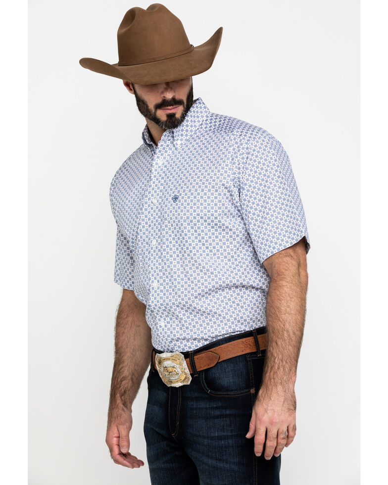 Ariat Men's Lucas Small Geo Print Short Sleeve Western Shirt , White, hi-res