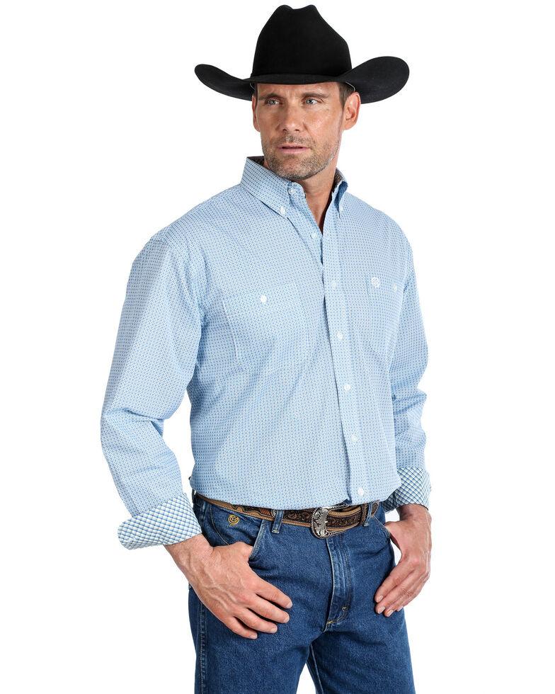 George Strait by Wrangler Men's Royal Geo Print Long Sleeve Western Shirt , Royal Blue, hi-res