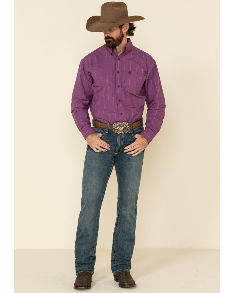 George Strait By Wrangler Men's Plum Micro Check Plaid Long Sleeve Western Shirt - Tall , Purple, hi-res