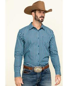 Gibson Men's High Roller Small Plaid Long Sleeve Western Shirt , Blue, hi-res