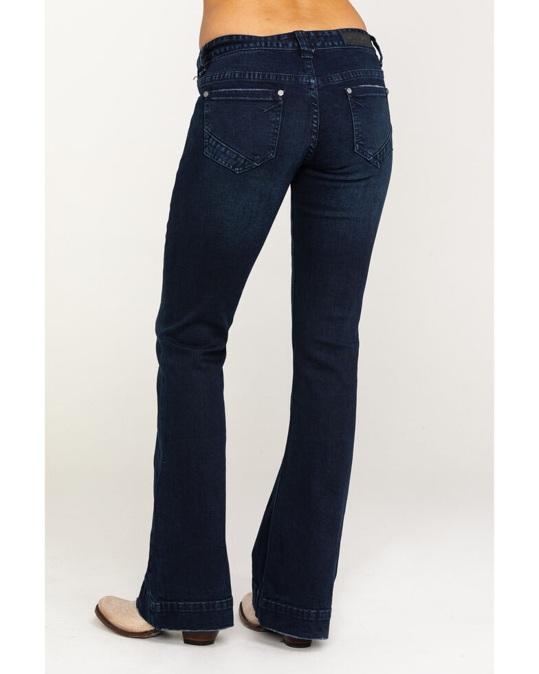 Rock & Roll Cowgirl Women's Dark Vintage Low Rise Trousers , Blue, hi-res
