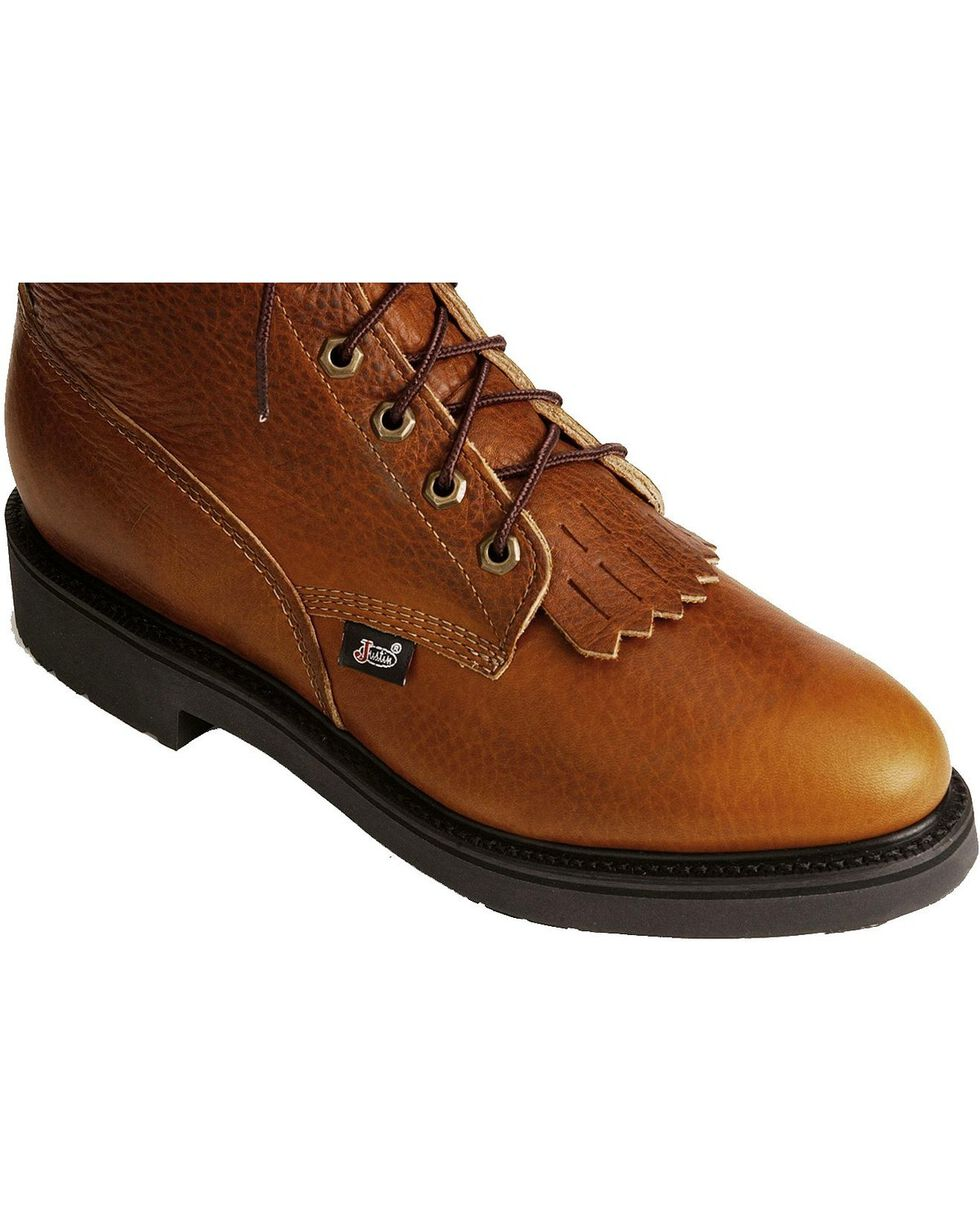 """Justin Men's Conductor 8"""" Lace-Up Work Boots - Soft Toe, Copper, hi-res"""