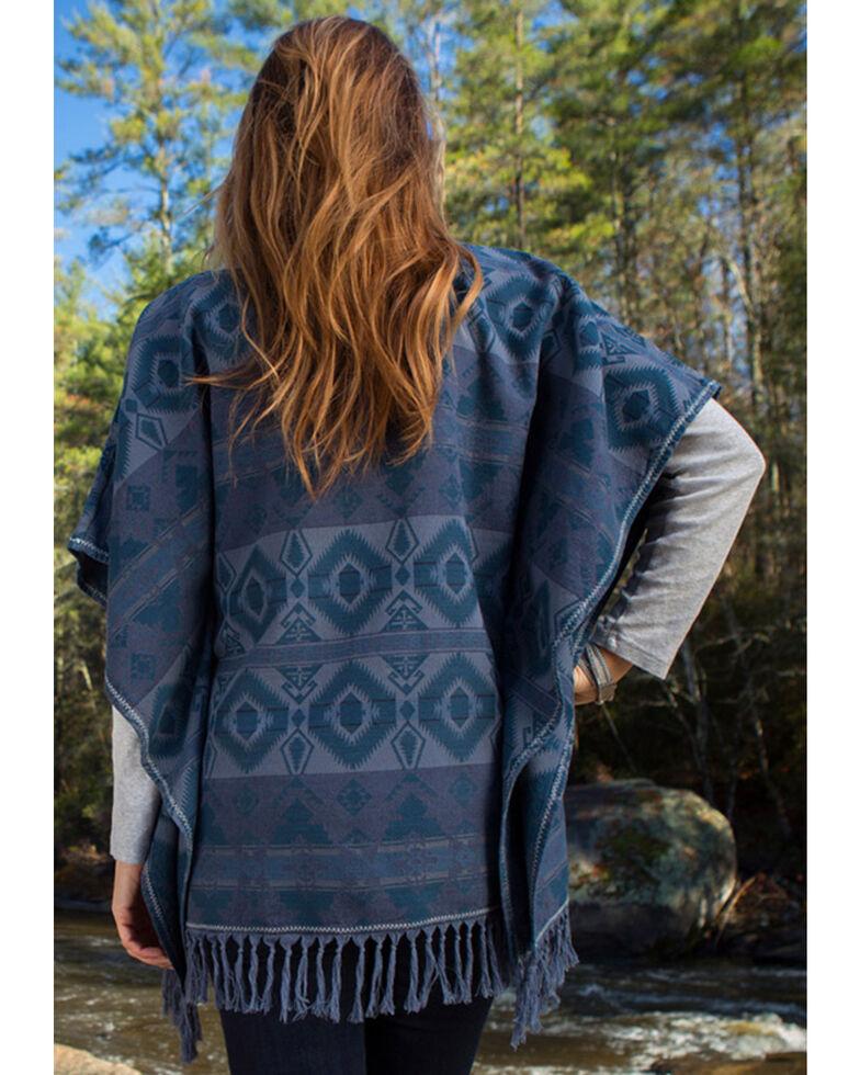 Ryan Michael Women's Blanket Poncho , Dark Blue, hi-res