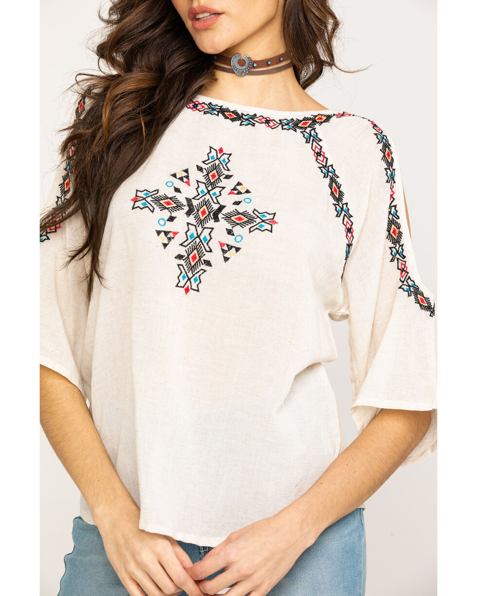 Studio West Women's Tribal Embroidered Cold Shoulder Blouse, White, hi-res