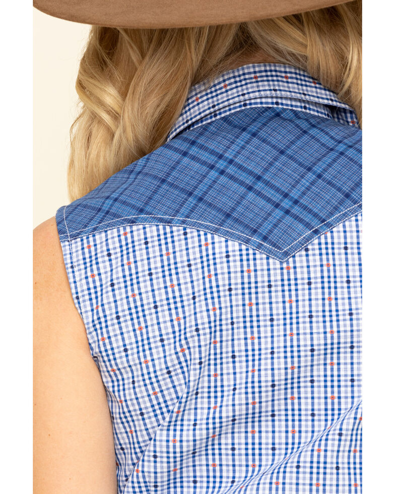 Rough Stock by Panhandle Women's Blue Check Sleeveless Western Shirt, Blue, hi-res