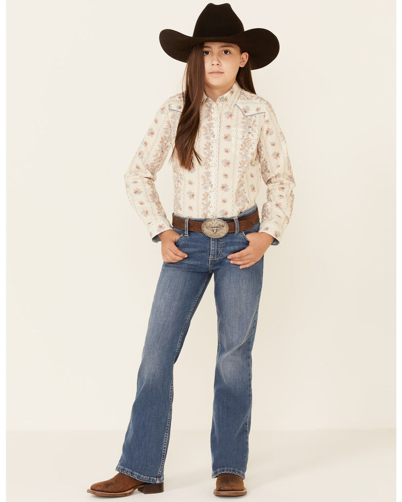 Roper Girls' Vintage Wallpaper Floral Print Long Sleeve Snap Western Shirt , Ivory, hi-res