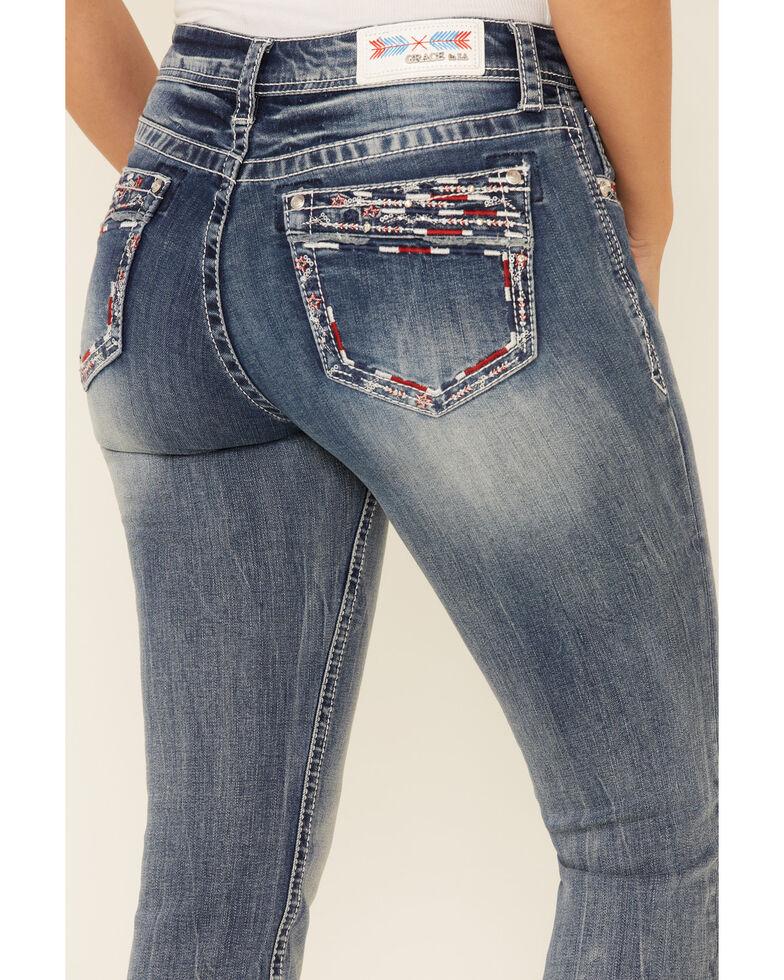 Grace in LA Women's Americana Border Bootcut Jeans, Blue, hi-res