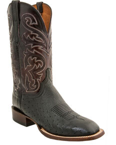 Lucchese Men's Handmade Lance Smooth Ostrich Horseman Boots - Square Toe, Black, hi-res