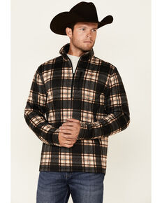 Powder River Outfitters Men's Brown Large Plaid 1/4 Zip Fleece Pullover , Brown, hi-res