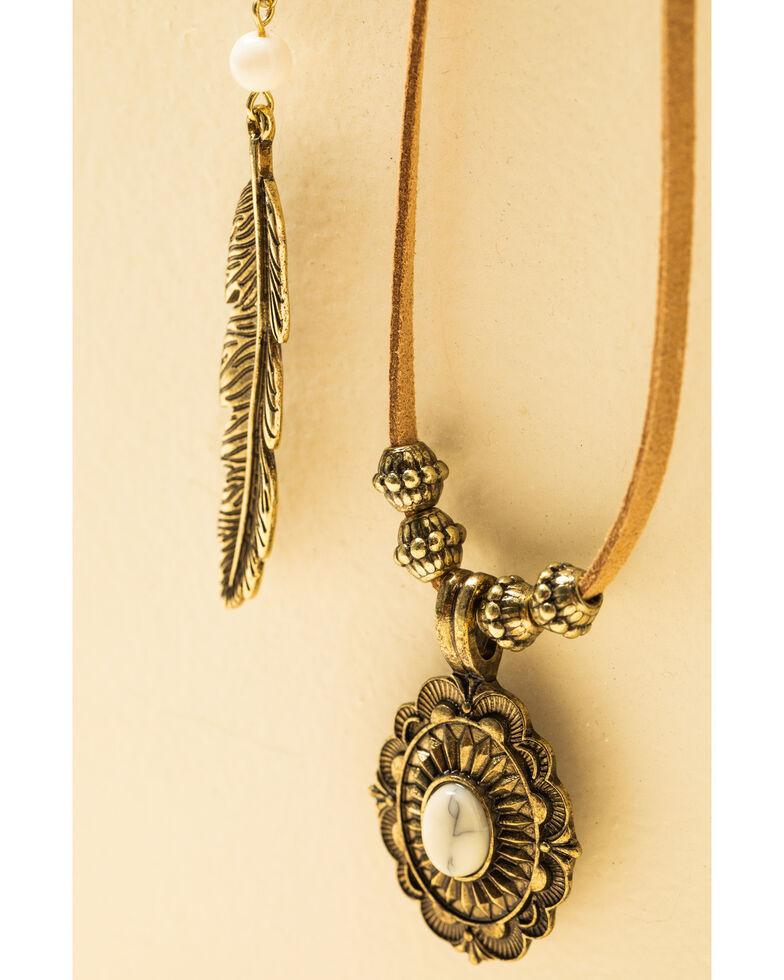 Shyanne Women's Crescent Sunset Horizon Feather Choker Set, Bronze, hi-res
