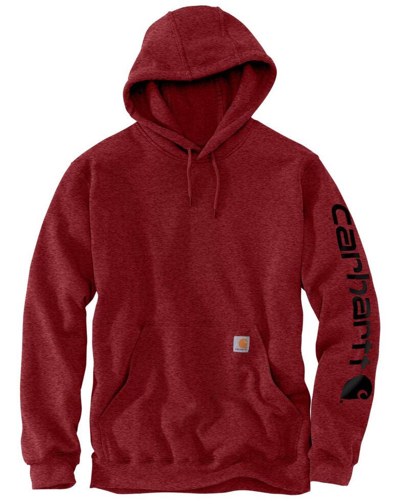 Carhartt Men's Dark Red Midweight Signature Sleeve Logo Hooded Work Sweatshirt , Dark Red, hi-res