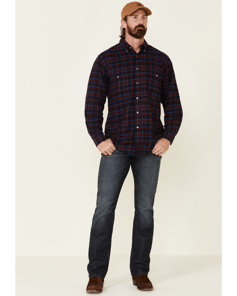 Wrangler Rugged Wear Men's Red Blue Ridge Long Sleeve Western Flannel Shirt - Big & Tall, Red, hi-res