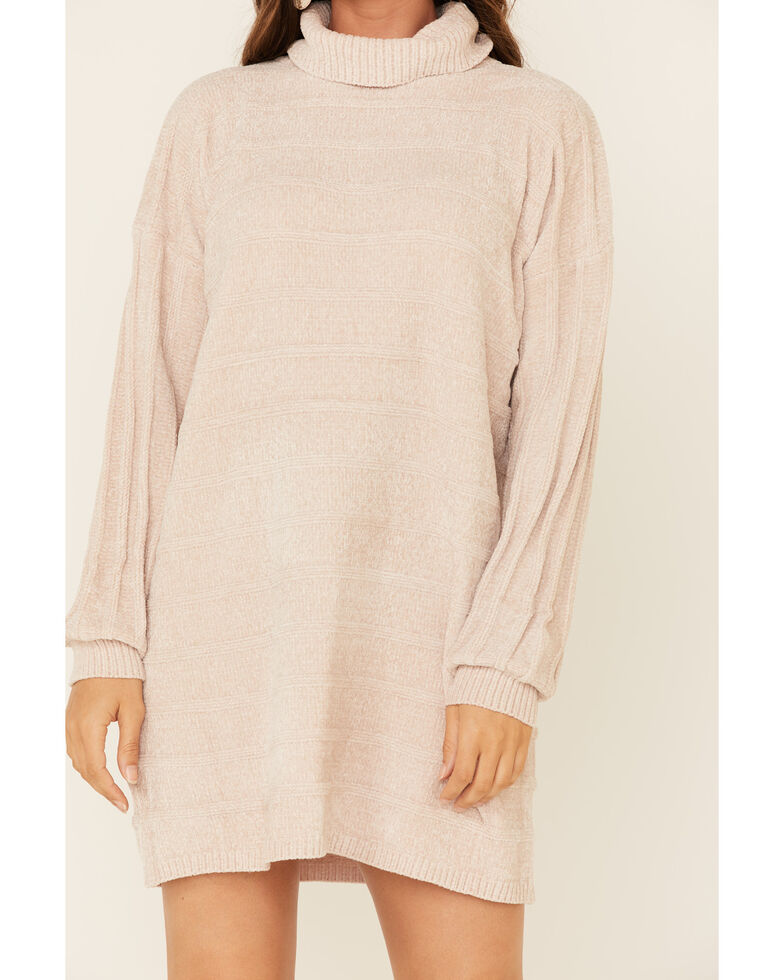 Sadie & Sage Women's Turtleneck Sweater Dress, Beige/khaki, hi-res
